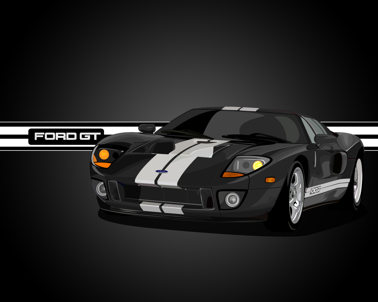 Ford Gt Vector Black Vector Cars Digital Wallpapers