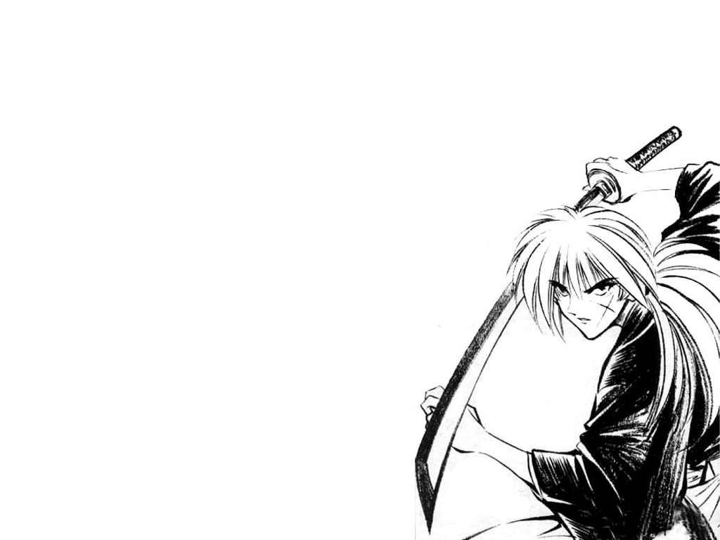 kenshin black and white «1024x768 «anime wallpapers «anime wallpapers